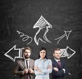 'brainstorming' del gruppo di affari, frecce Immagini Stock Libere da Diritti