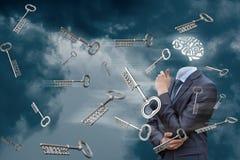 Brainstorming en de sleutels van succes in de hemel royalty-vrije stock afbeeldingen