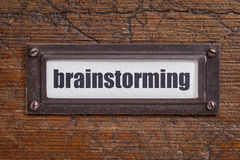 Brainstorming file cabinet  label Royalty Free Stock Photography