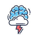 Brainstorming flat design single isolated icon. Pictogram. Brain with cloud and flashlight stock illustration