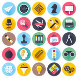 Brainstorming Flat Long Shadow Icon Set Stock Photos