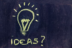 Brainstorming, funny lightbulb on blackboard Royalty Free Stock Photo