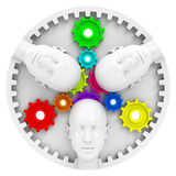 The brainstorming gear. 3d generated picture of some gear wheels and three heads Stock Photos