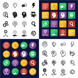 Brainstorming or Idea Icons All in One Icons Black & White Color Flat Design Freehand Set. This image is a vector illustration and can be scaled to any size Royalty Free Stock Photography