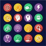 Brainstorming or Idea Icons Flat Design Circle. This image is a vector illustration and can be scaled to any size without loss of resolution Royalty Free Stock Image