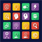 Brainstorming or Idea Icons Flat Design. This image is a vector illustration and can be scaled to any size without loss of resolution Royalty Free Stock Images