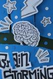 Brainstorming Konceptualnego skład Z ręka Rysującą Inked papieru Cutted sztuką zdjęcie stock