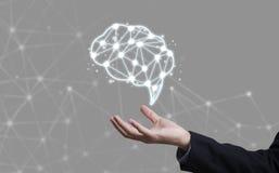 Brainstorming kreatywnie pomysłu abstrakcjonistyczną ikonę na ręce Zdjęcia Stock