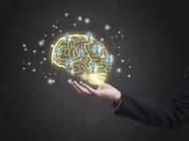 Brainstorming kreatywnie pomysłu abstrakcjonistyczną ikonę na ręce Zdjęcie Stock