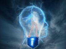 Brainstorming lightning bolt shaped as human head with lightbulb Royalty Free Stock Photography