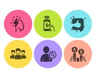 Brainstorming, Like and Phone payment icons set. Group, Find user and Ab testing signs. Vector. Brainstorming, Like and Phone payment icons simple set. Group vector illustration