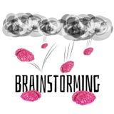 Brainstorming - mózg spada od nieba ilustracja wektor