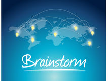 Brainstorming message world map illustration Royalty Free Stock Photography