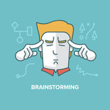 Brainstorming. Modern style illustration of a man brainstorming, solving a problem, thinking, finding new ideas. Productivity concept Royalty Free Stock Photo