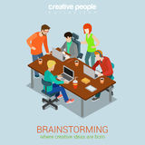 Brainstorming people flat 3d web isometric infographic concept stock illustration