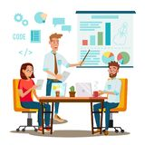 Team Work Brainstorming Vector. Presentation Of The Project. Innovation Idea Discussion People. Designer, Programmer royalty free illustration