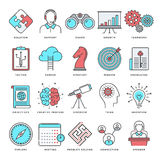 Brainstorming and Productivity Flat Line Icon Set Stock Images
