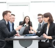Business team holds a brainstorm. Brainstorming. professional business team at the briefing stock images