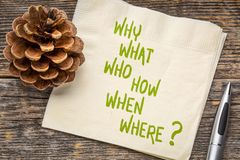 Brainstorming question on napkin. Why, what, who, how, when, where brainstorming or decision making questions - handwriting on a napkin royalty free stock photography