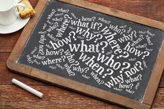 Brainstorming questions on blackboard. Who, what, when, where, why, how questions - brainstorming concept  on a vintage slate blackboard with a cup of coffee Royalty Free Stock Photo