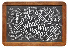 Brainstorming questions on blackboard. Who, what, when, where, why, how questions - brainstorming concept  on a vintage slate blackboard isolated on white Royalty Free Stock Photo
