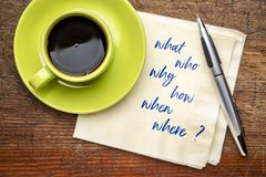 Brainstorming questions on napkin. Who, what, why, how, when and where, brainstorming or decision making questions - handwriting on a napkin with a cup of coffee royalty free stock image