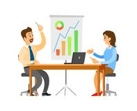 Brainstorming Seminar of Team, Office Workers. Discussing problems vector. Whiteboard with information, statistics and charts. Teamwork thinking people royalty free illustration