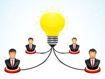 Brainstorming in the Teamwork. Vector illustration of four businessmen doing brainstorming to get bright idea Stock Photo