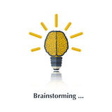 Brainstorming. Vector brain icon,sign pictogram.The human brain as a lamp.Concept business, brainstorming,bulb idea ,over white with text Brainstorming,in flat stock illustration