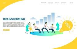 Brainstorming vector website landing page design template. Brainstorming vector website template, web page and landing page design for website and mobile site stock illustration
