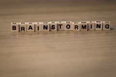 Brainstorming in wooden cubes Royalty Free Stock Photography