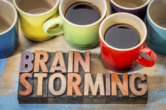 Brainstorming word abstract in wood type royalty free stock photo