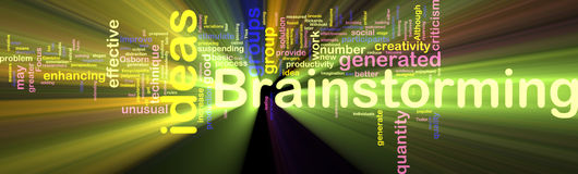 Brainstorming word cloud glowing Royalty Free Stock Image
