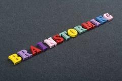 BRAINSTORMING-Wort auf dem schwarzen Bretthintergrund verfasst von den hölzernen Buchstaben des bunten ABC-Alphabetblockes, Kopie Lizenzfreie Stockfotos