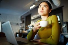 Brainstorming. Young woman with cup of tea getting inspired in front of laptop in the evening Stock Photo