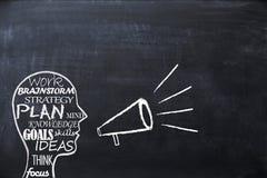 Brainstormingkonzept auf Tafel mit Form des menschlichen Kopfes Lizenzfreies Stockfoto
