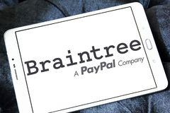 Braintree payment company logo. Logo of Braintree payment company on samsung tablet. Braintree, a division of PayPal, is a company based in Chicago that Royalty Free Stock Photography