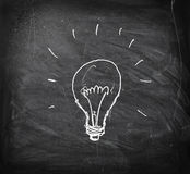 Brainwave. Loght bulb drawn on a blackboard Royalty Free Stock Image