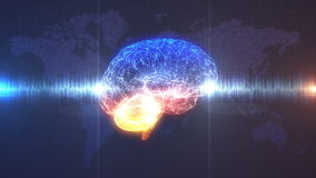 Brainwave concept - Brain in front of Earth illustration. Brain wave - profile view of CGI rendered brain with electrical current running through it in front of stock video footage