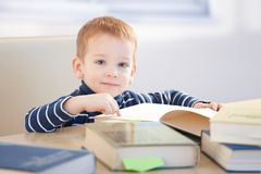 Brainy little boy learning at home Royalty Free Stock Photo