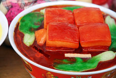Braise in soy sauce meat, dongpo pork. Looks very delicious,in the food festival Stock Images