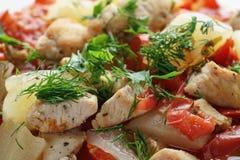 Braised филе цыпленка с сквошом и болгарским перцем Стоковое Изображение RF