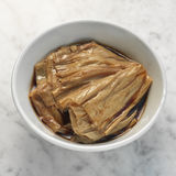 Braised bean curd in soya sauce Stock Photos