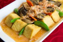 Braised beancurd with crabmeat. Chinese style cooking of braised beancurd with crabmeat Royalty Free Stock Photo