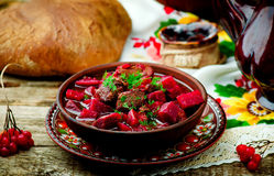 Braised beef with beet. Royalty Free Stock Photo
