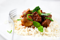 Braised beef with broccoli and rice Stock Photos