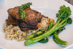 Braised beef with broccoli and rice. Braised beef with broccoli,rice stock image