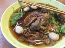 Braised beef noodle soup. A bowl of braised beef noodle soup Royalty Free Stock Photography