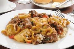 Braised beef and portabello mushroom tortellini Royalty Free Stock Photos