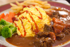 Braised beef scotch style omelette. Delicious braised beef scotch style omelette Stock Photo